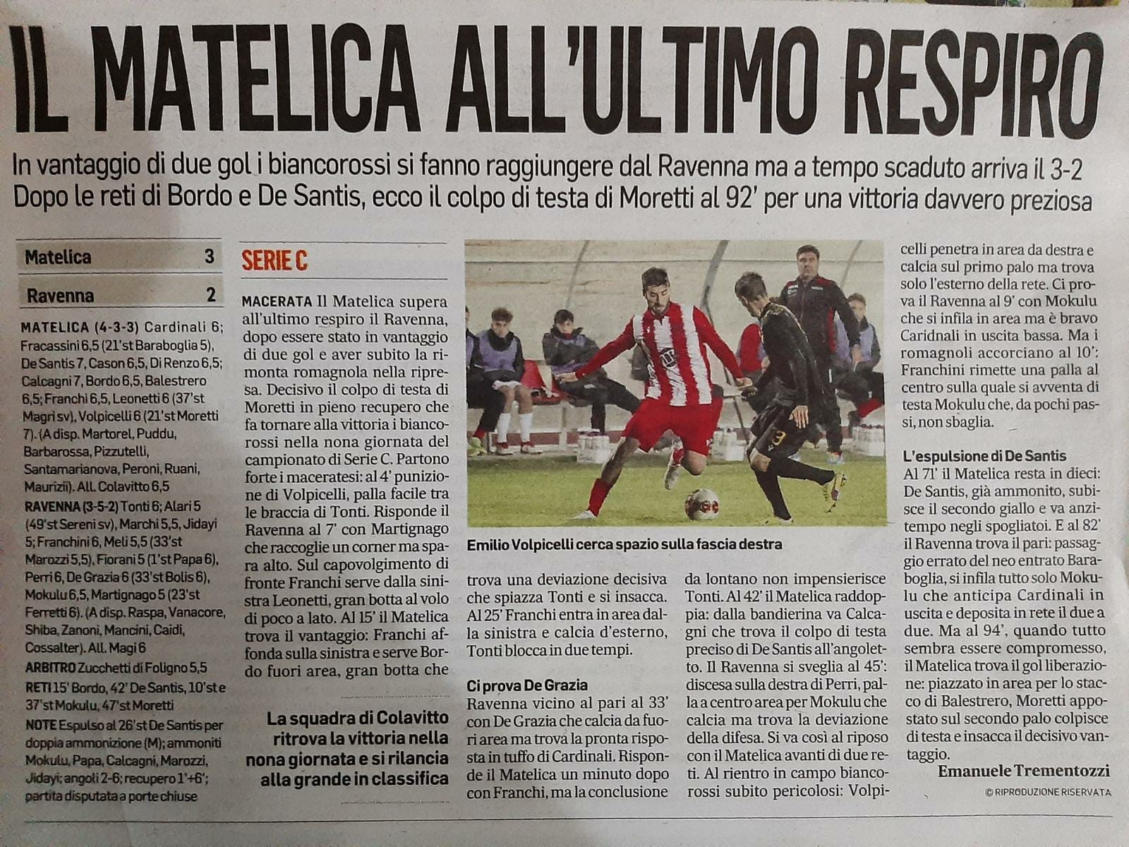 Matelica all'ultimo respiro (Corriere Adriatico)