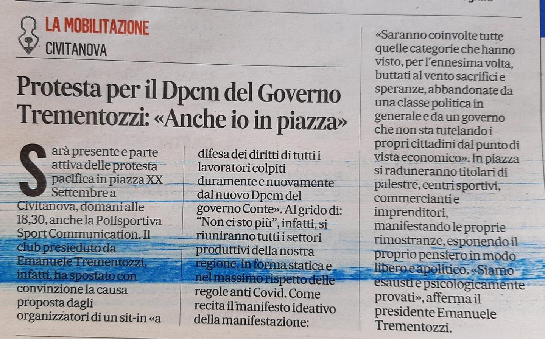Lo sport in piazza contro il Dpcm (Da Il Corriere Adriatico)
